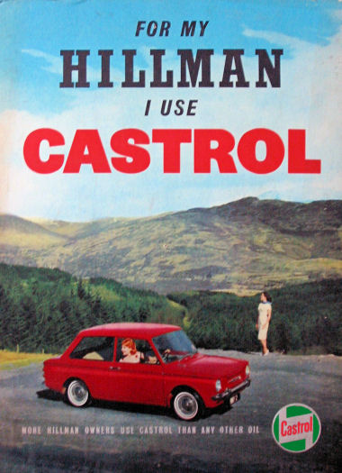 For my Hillman Imp I use Castrol oil - 1960s ad